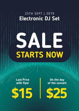 Electronic DJ Set Tickets Offer in Blue