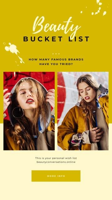 Young attractive woman in stylish clothes Instagram Story Design Template
