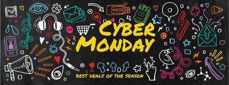 Plantilla de diseño de Cyber monday sale with funny illustrations Facebook cover