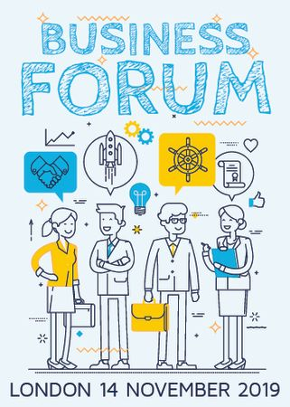Business forum announcement with Colleagues and icons Invitation – шаблон для дизайну