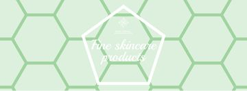 Skincare Products Offer on Green Geometric Pattern