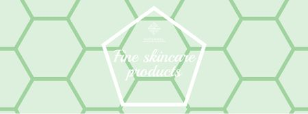 Skincare Products Offer on Green Geometric Pattern Facebook cover Modelo de Design