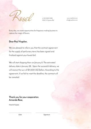 Fragrance Seller contract agreement Letterhead Modelo de Design