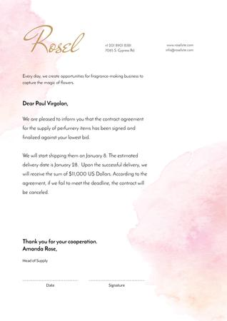 Ontwerpsjabloon van Letterhead van Fragrance Seller contract agreement