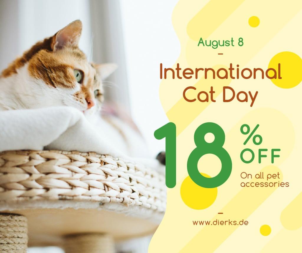 Modèle de visuel Cat Day Sale Cute Red Cat - Facebook