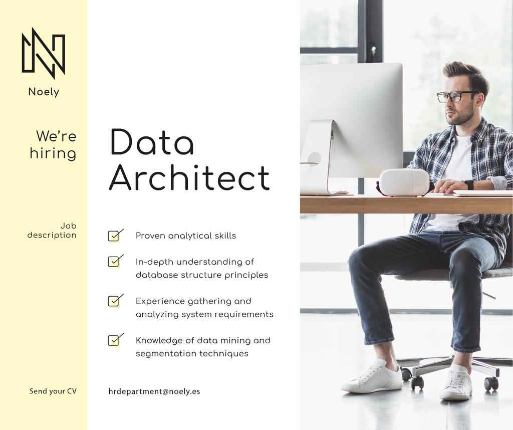 We're Hiring Announcement Coder Working on Computer | Facebook Post Template — Створити дизайн