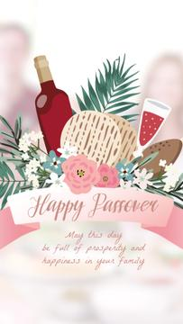 Happy Passover Wine and Unleavened Bread | Vertical Video Template