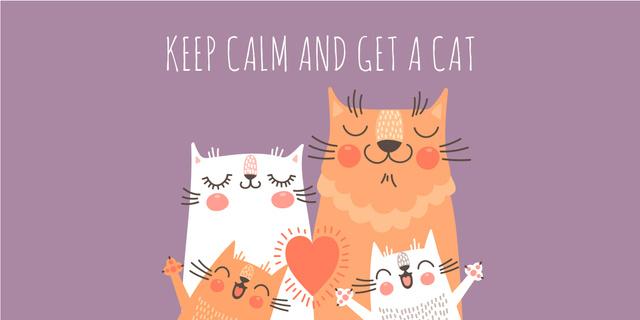 Ontwerpsjabloon van Twitter van Cute Cats Family