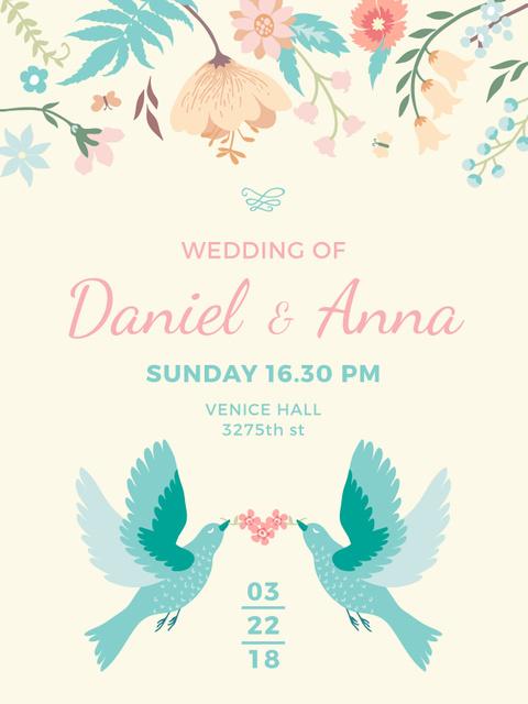 Ontwerpsjabloon van Poster US van Wedding Invitation Loving Birds and Flowers