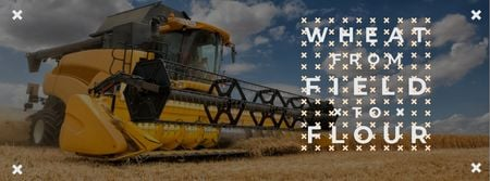 Template di design Wheat from field to flour with Combine Facebook cover