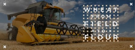 Plantilla de diseño de Wheat from field to flour with Combine Facebook cover