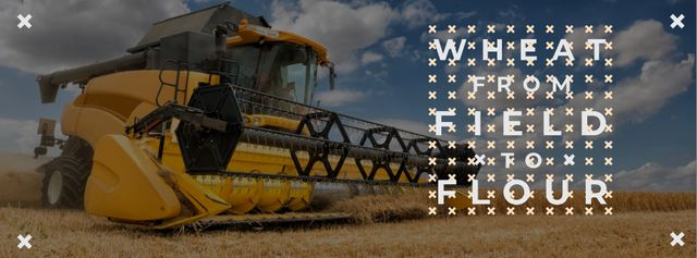Designvorlage Wheat from field to flour with Combine für Facebook cover