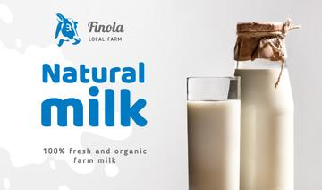 Milk Farm Ad with Glass of Organic Milk