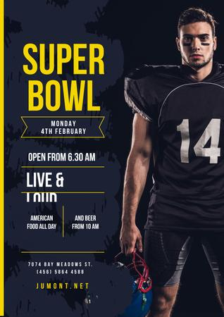 Template di design Super Bowl Match Offer with Player in Uniform Poster