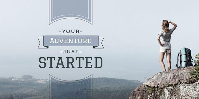 Tour Inspiration with Traveller Enjoying Mountains View Twitterデザインテンプレート