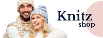 Knitwear store ad couple wearing Hats