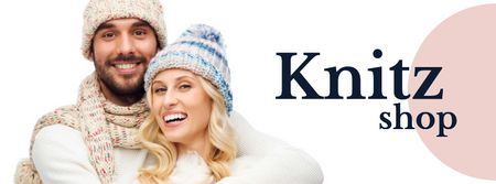 Ontwerpsjabloon van Facebook cover van Knitwear store ad couple wearing Hats