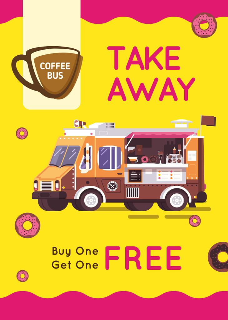 Bus with Coffee to-go offer — Создать дизайн