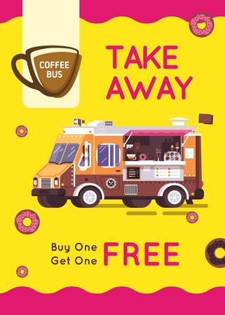 Plantilla de diseño de Bus with Coffee to-go offer Flayer