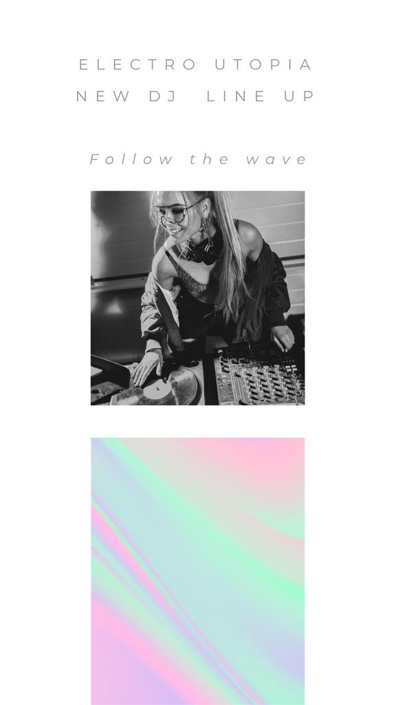 Stylish DJ Girl playing music on dj remote — Crear un diseño