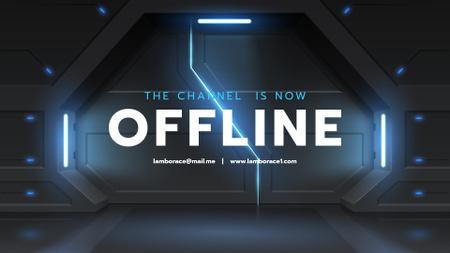 Ontwerpsjabloon van Twitch Offline Banner van Gates in Futuristic Bunker