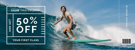 Plantilla de diseño de Surfing Classes Offer with Man on Surfboard Coupon