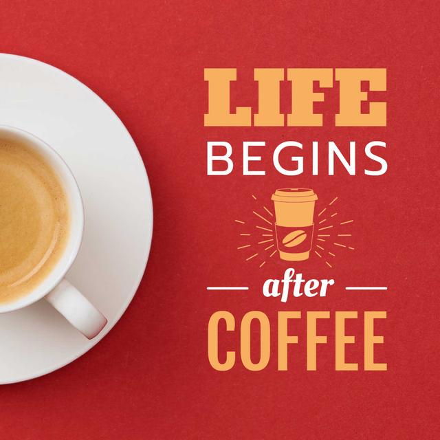 Cup of Coffee on Red table Animated Postデザインテンプレート