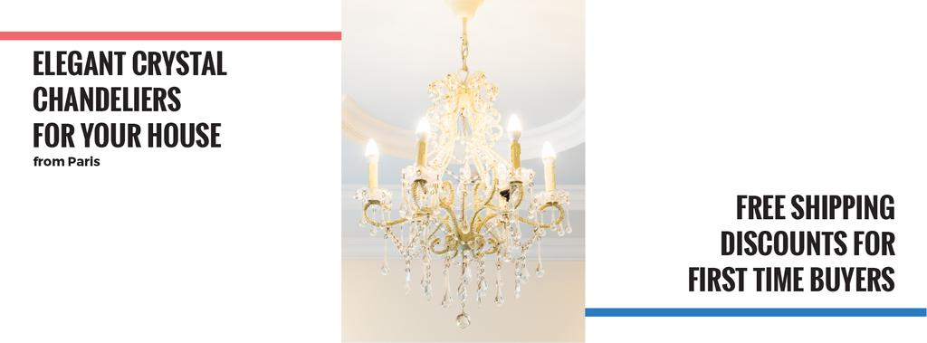 Elegant Crystal Chandelier Ad in White | Facebook Cover Template — Create a Design
