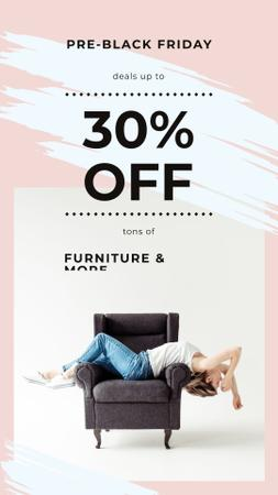 Black Friday Ad Girl resting on armchair Instagram Story – шаблон для дизайна