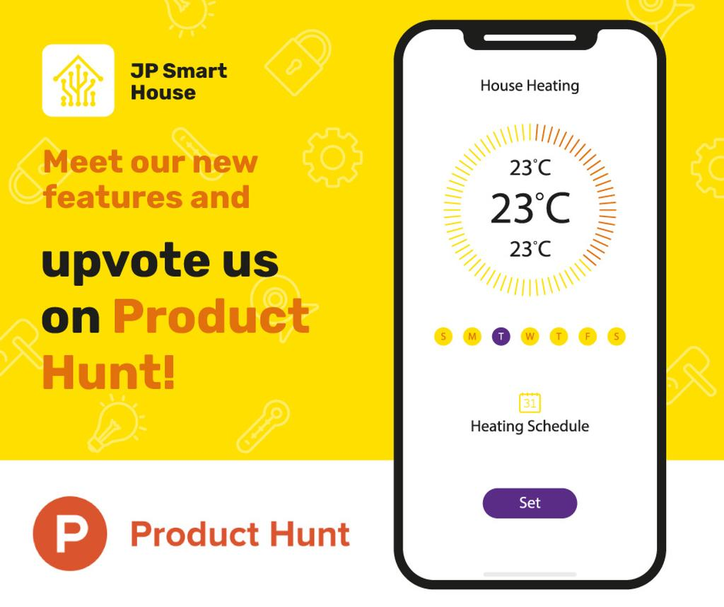 Product Hunt Launch Ad Smart Home App on Screen — Создать дизайн