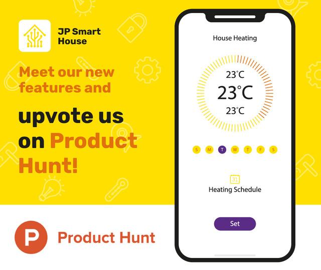 Product Hunt Launch Ad Smart Home App on Screen Facebook – шаблон для дизайну