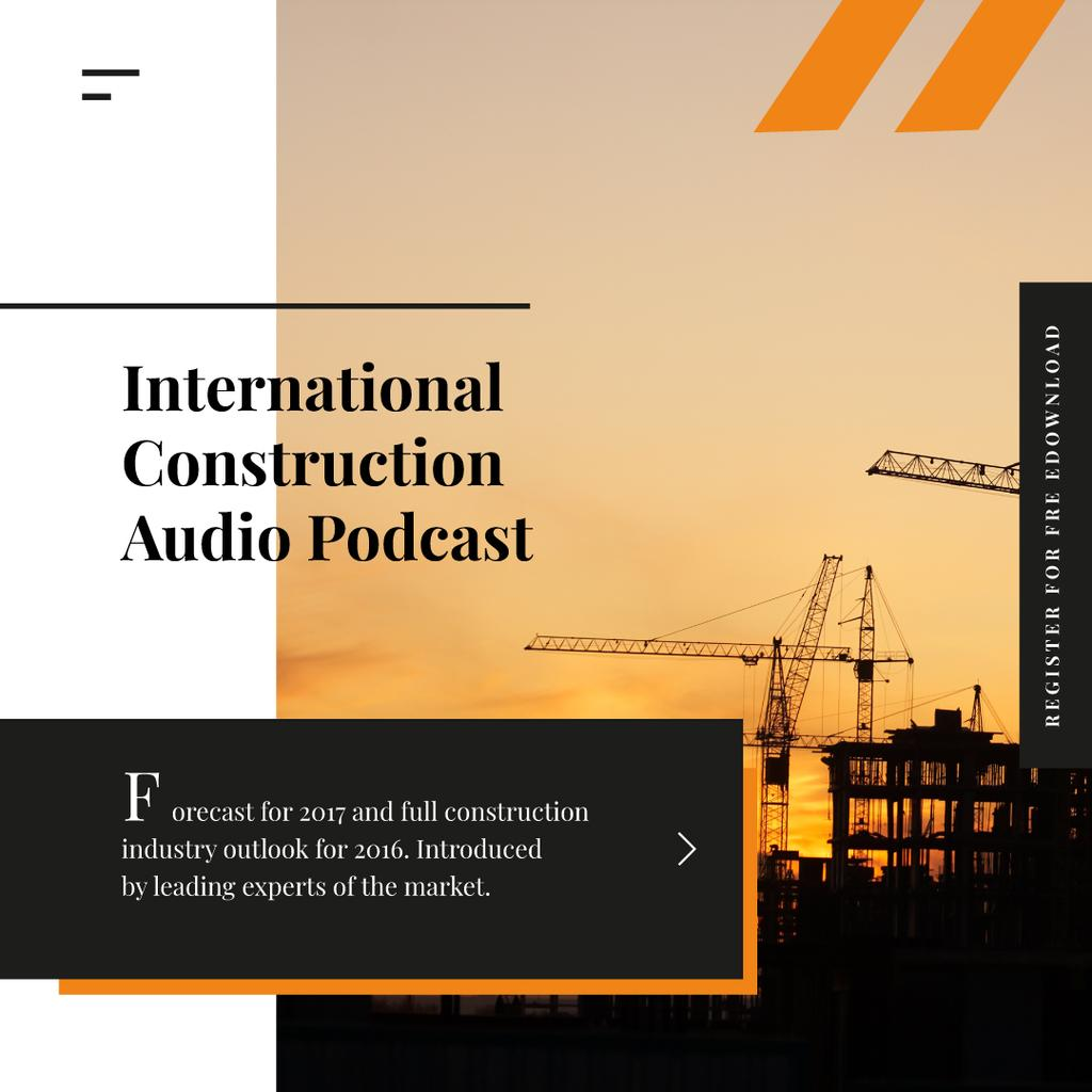 Building Industry Cranes at Construction Site | Instagram Ad Template — Créer un visuel