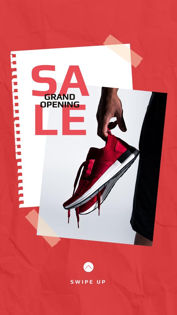 Shoes Sale Sportsman Holding Sneakers — Créer un visuel