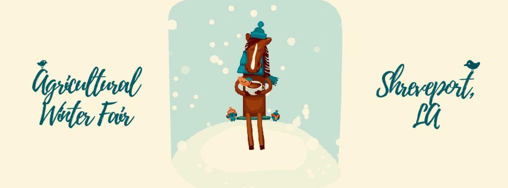 Horse drinking coffee in winter — Crear un diseño