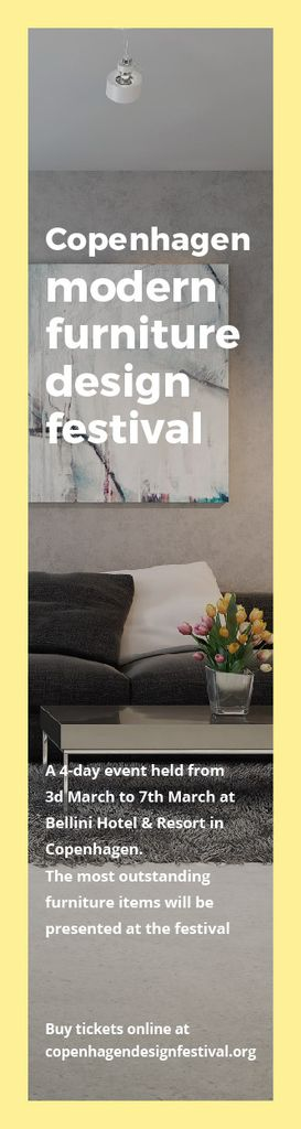 Interior Decoration Event Announcement Sofa in Grey — Crear un diseño