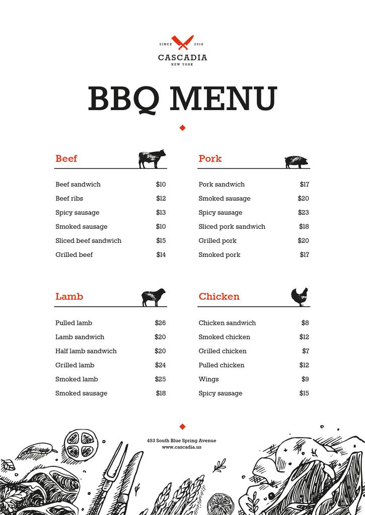 BBQ dishes list — Créer un visuel