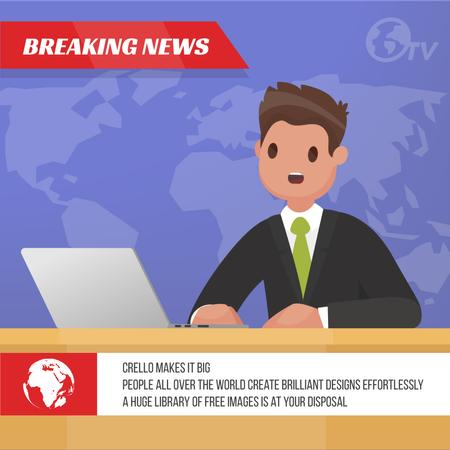 Newscaster in the television studio Animated Post – шаблон для дизайну
