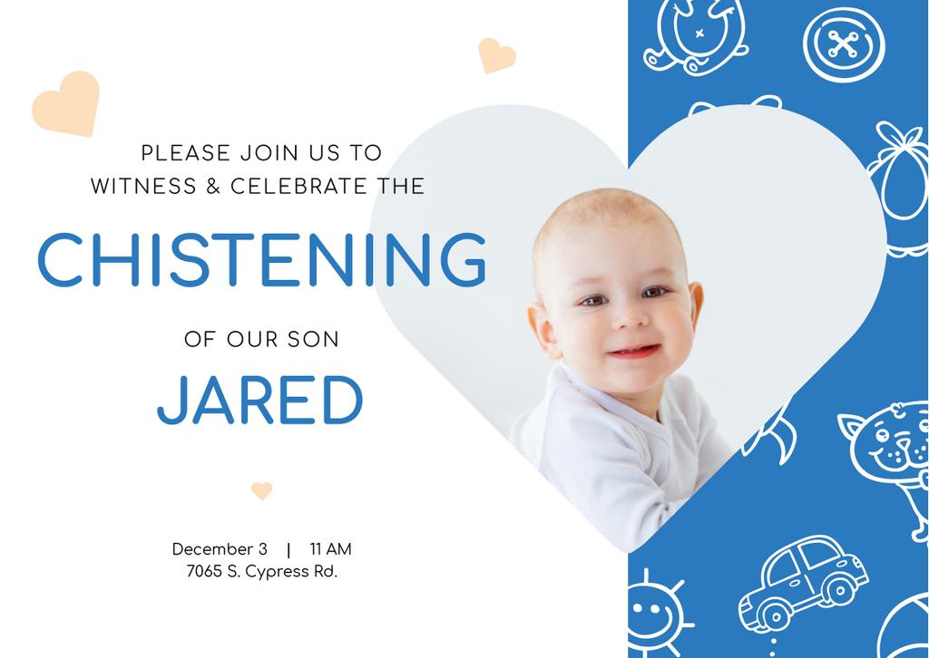 Baby Christening Invitation with Adorable Little Boy — Crea un design