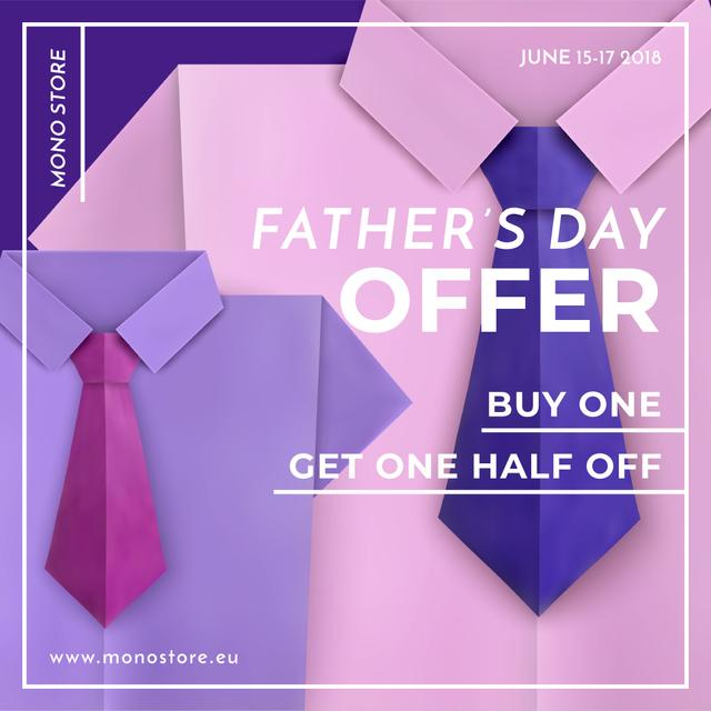 Special offer on Father's Day on shirt with tie Instagram AD – шаблон для дизайна