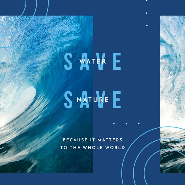 Ecology Concept with Blue water wave Instagram AD Modelo de Design