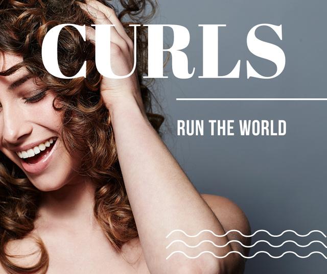 Ontwerpsjabloon van Facebook van Curls Care tips with Woman with shiny Hair
