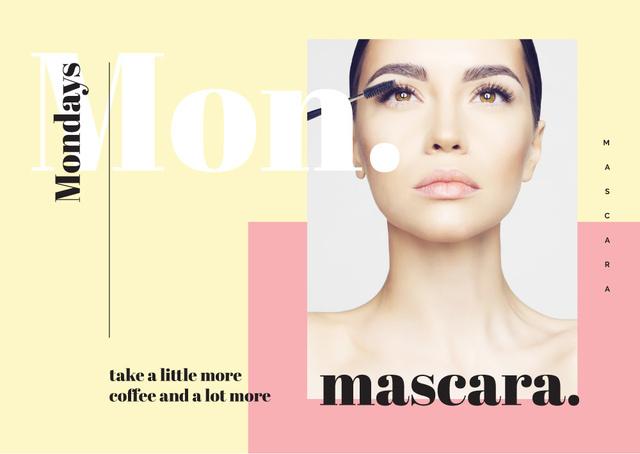 Woman applying mascara Postcard Design Template