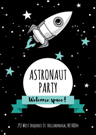 Astronaut party announcement with Rocket in Space Flayerデザインテンプレート