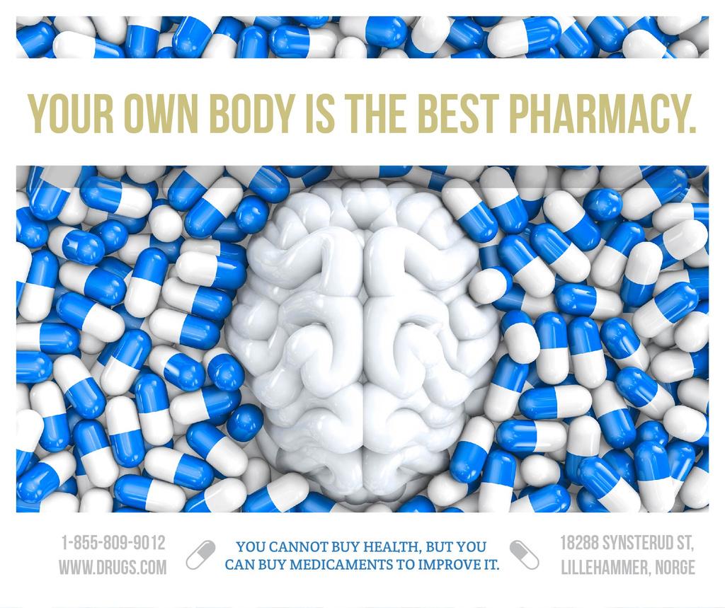 Pharmacy advertisement with brain and pills — Maak een ontwerp