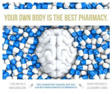 Pharmacy advertisement with quote