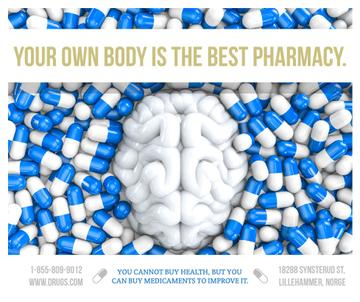 Pharmacy advertisement with brain and pills