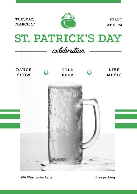 St.Patricks Day Celebration with Glass of cold Beer Poster Modelo de Design