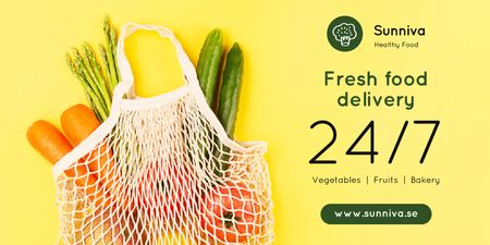 Grocery Delivery with Fresh Vegetables in Net Bag Twitter Design Template