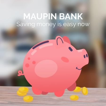 Ontwerpsjabloon van Animated Post van Coins Filling Piggy Bank