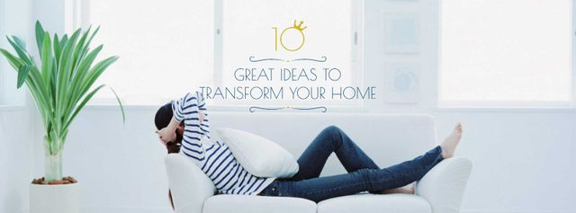 Designvorlage Real Estate Ad with Woman Resting on Sofa für Facebook cover